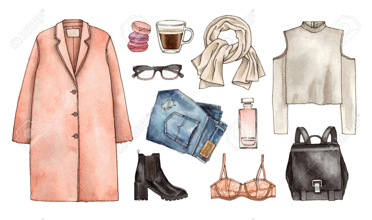 Watercolor Hand Drawing Sketch Fashion Outfit A Set Of Clothes Stock Photo Picture And Royalty Free Image Image 89268740