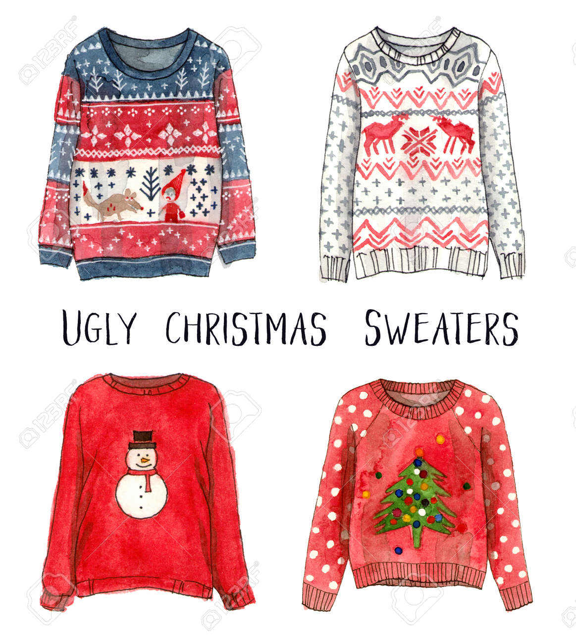 Ugly Christmas Sweaters.Ugly Christmas Sweaters Watercolor Fashion Sketches Isolated