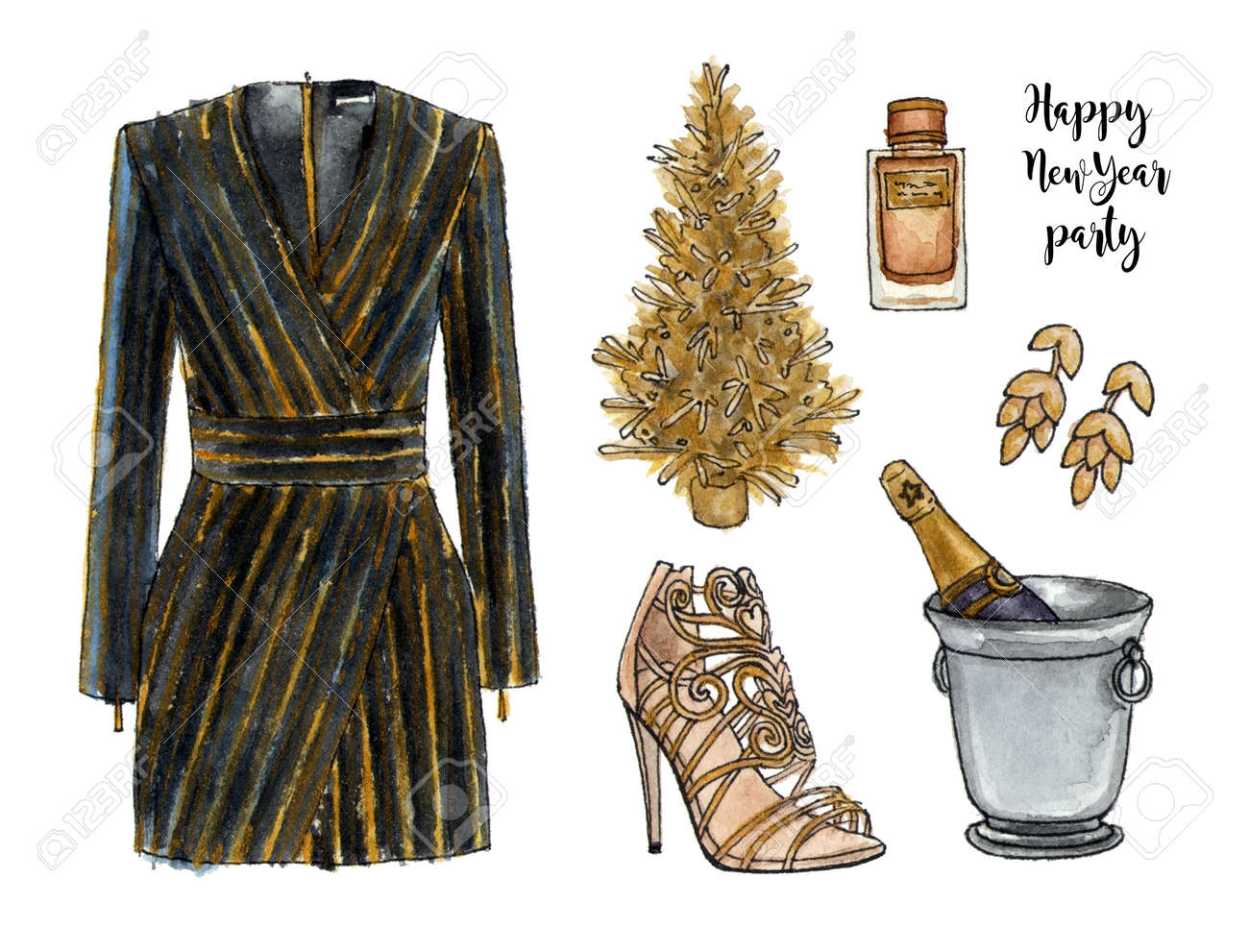 dc5ddb9afa1b golden happy new year party look. watercolor hand drawn sketch fashion  outfit, a set