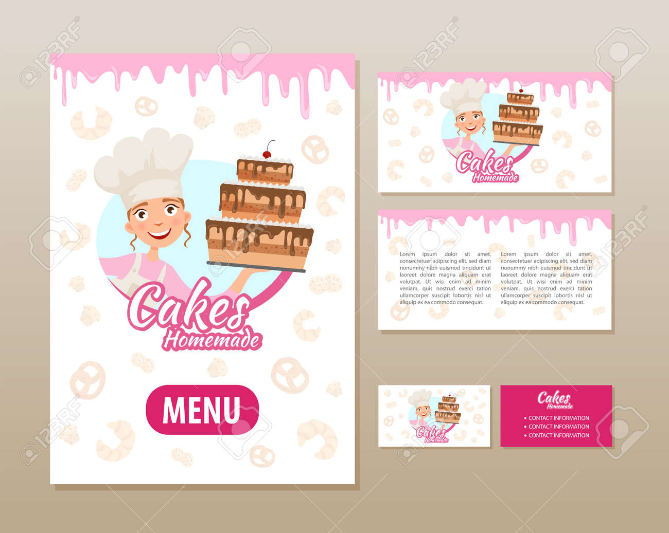 Templates of printing for a bakery. Poster, flyer and business card. - 105475643