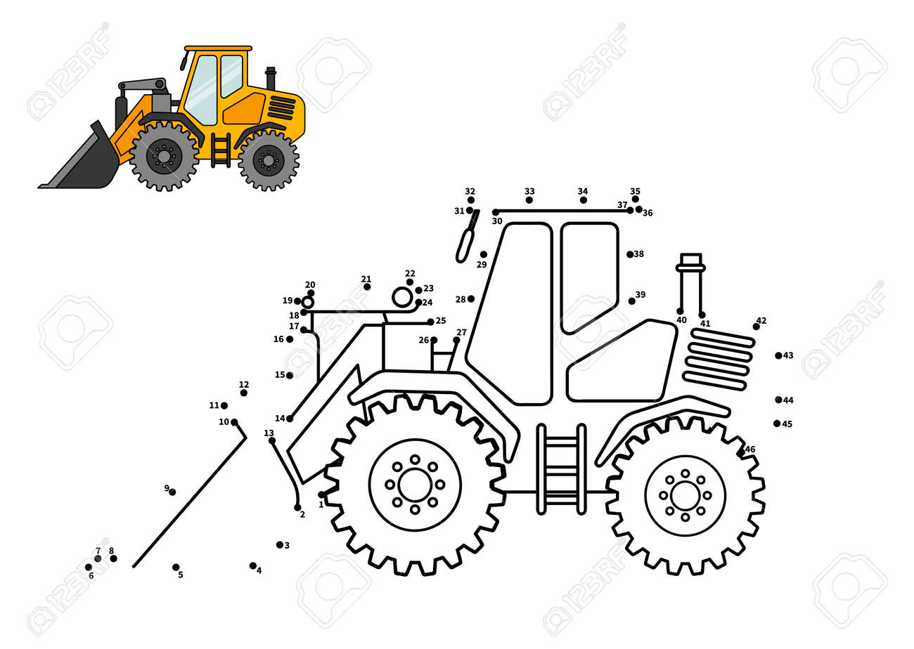 Special equipment. Bulldozer. Connect the dot and color. Game for preschool kids with simple educational gaming level. - 111919408
