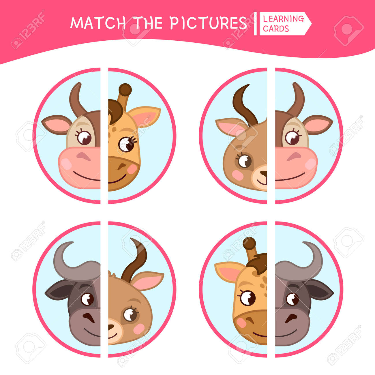 Matching Children Educational Game Match Parts Of Cartoon Animals Royalty Free Cliparts Vectors And Stock Illustration Image 111334657