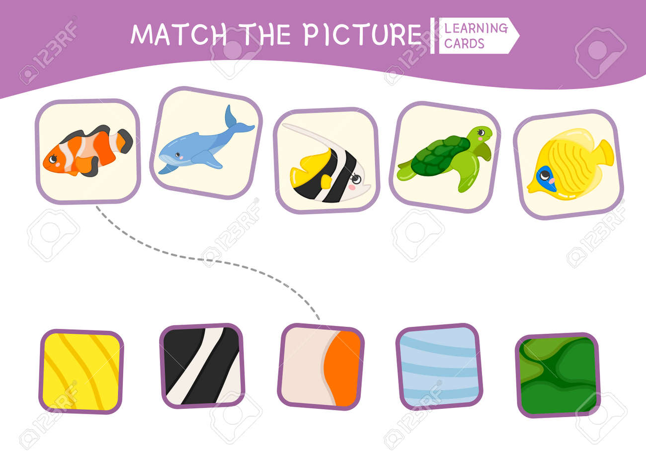 Matching Children Educational Game Match Parts Of Sea Animals Royalty Free Cliparts Vectors And Stock Illustration Image 111988199