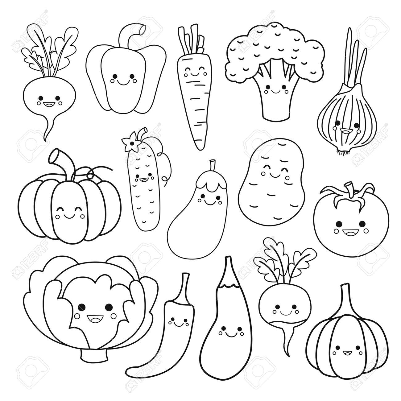 Vector set of cute vegetables. Coloring book for kids.