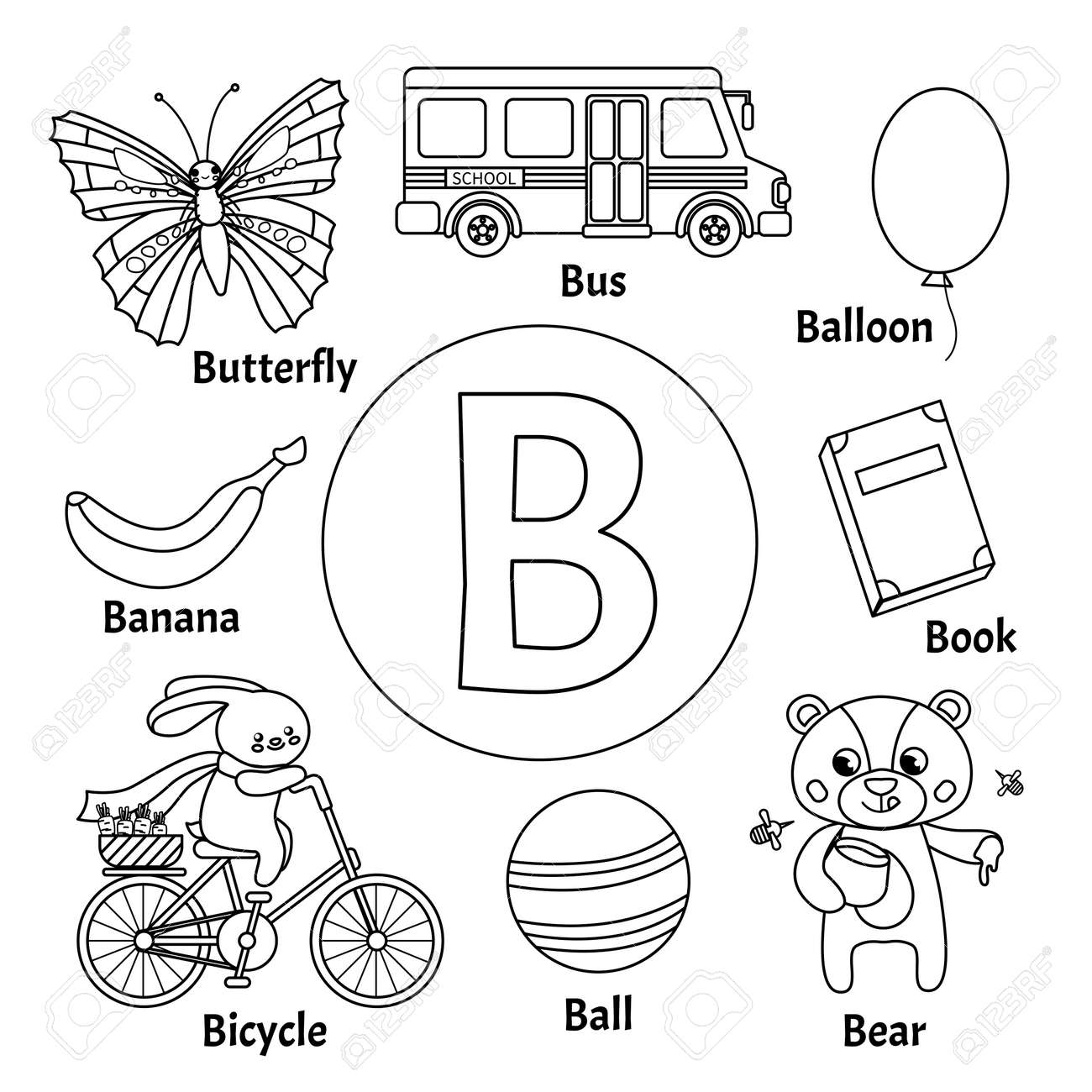 Learning card alphabet. Letter B. Set of cute cartoon illustrations...