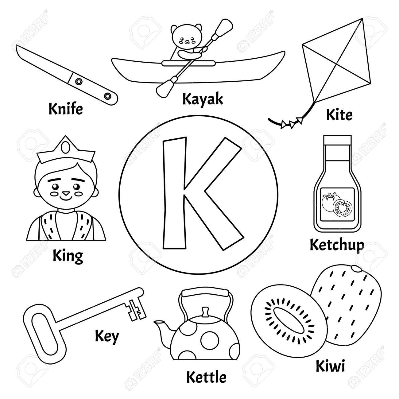 Vector Cute Kids Animal Alphabet Letter K Set Of Cute Cartoon