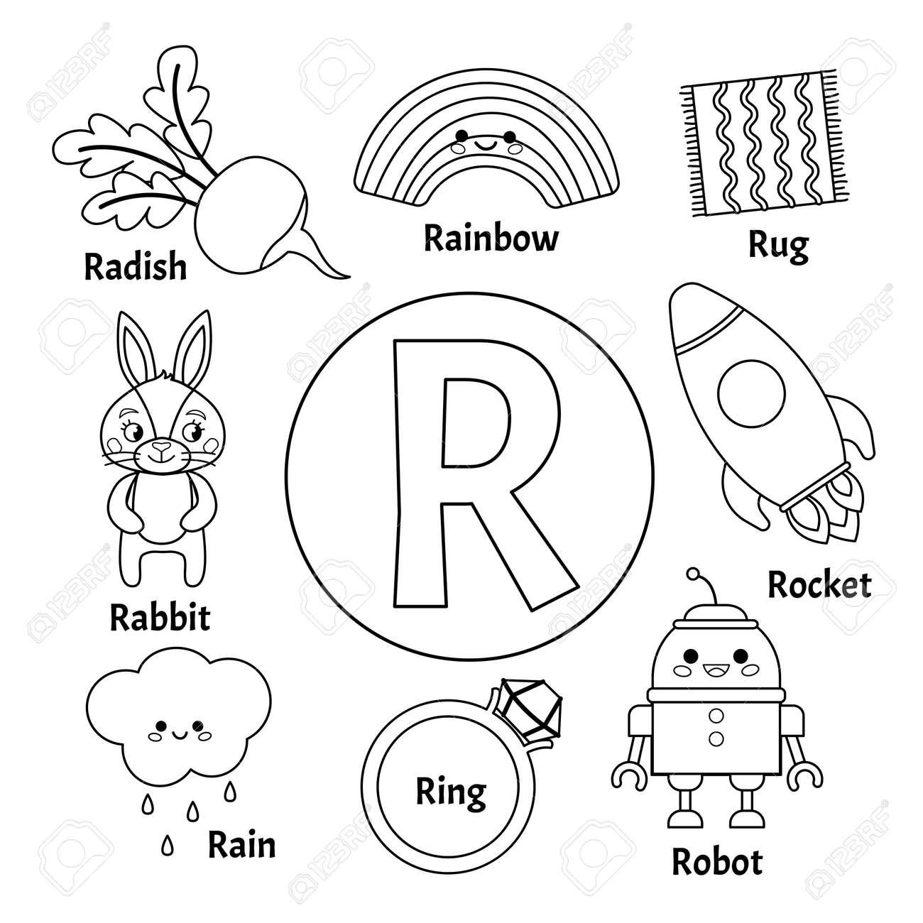 Vector cute kids animal alphabet. Letter R. Set of cute cartoon..