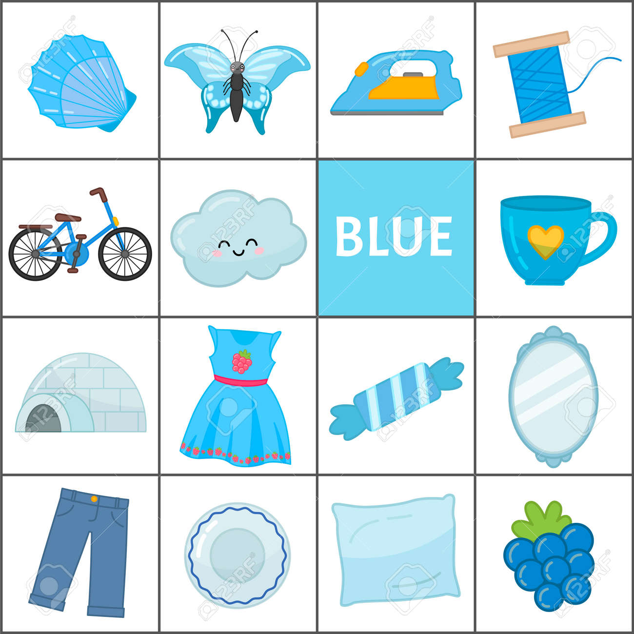 Learn the primary colors  Blue  Different objects in blue color