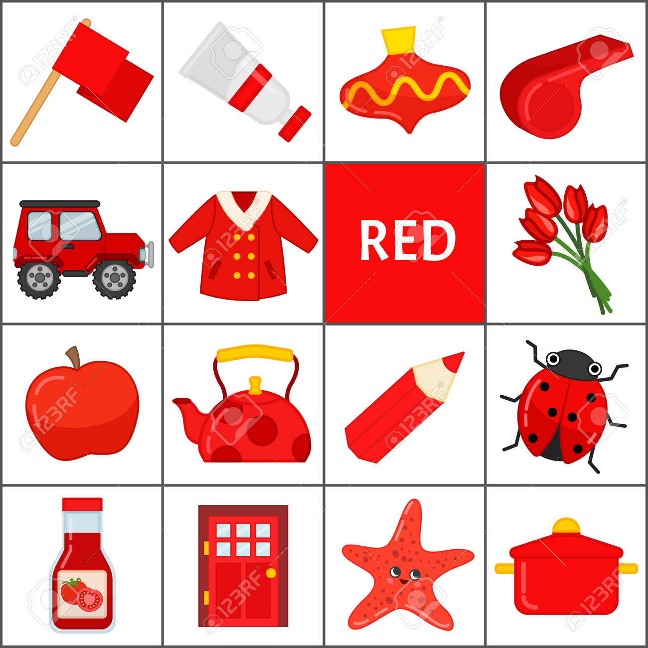 Learn the primary colors. Red. Different objects in red color. Educational material for children and toddlers. - 118996592