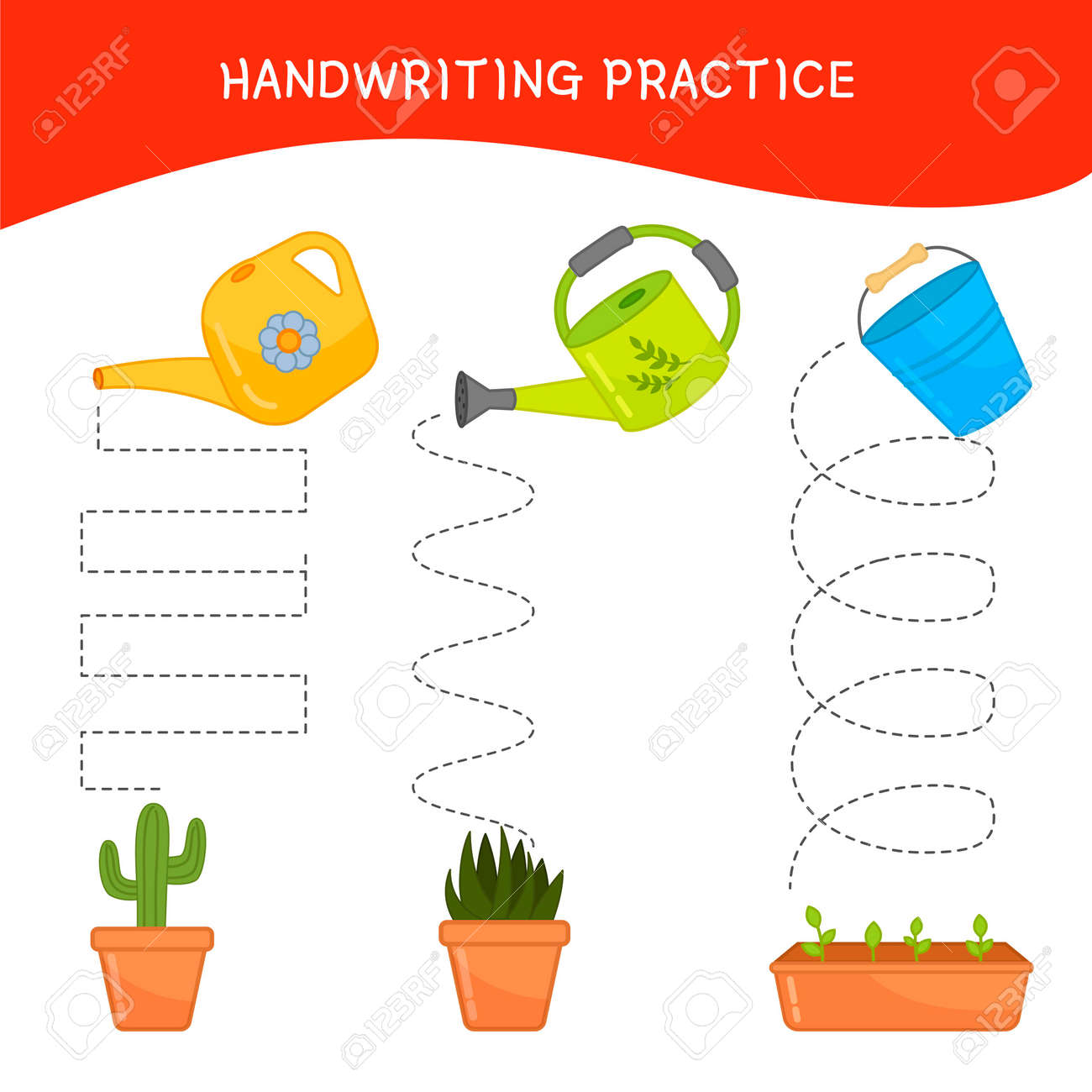 Handwriting practice sheet. Basic writing. Educational game for children. Cartoon watering cans. - 122385069