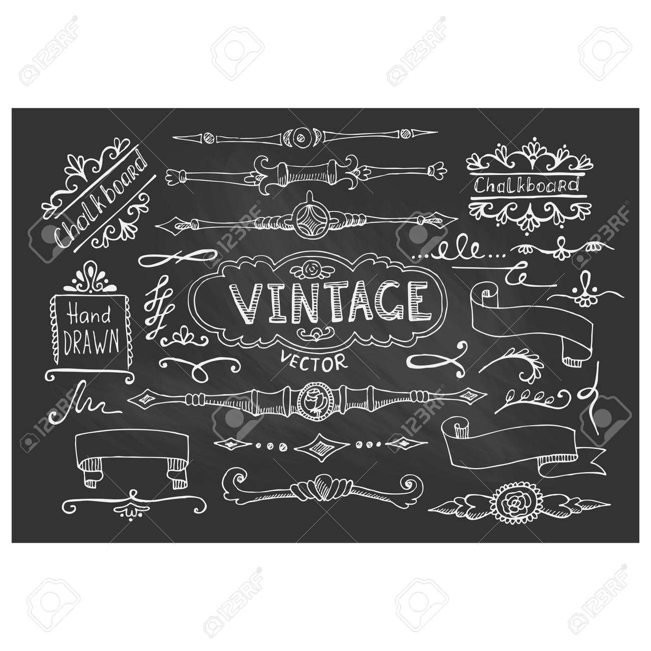 vector illustration of decorative vintage chalkboard elements