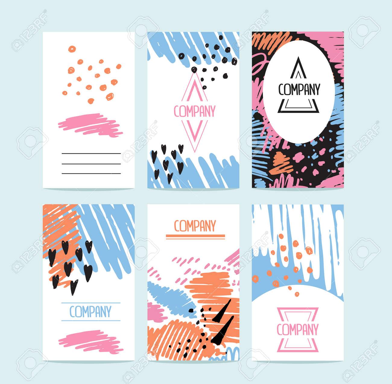 Hand Drawn 6 Cartes Avec Des Textures Et Logotypes Branchs
