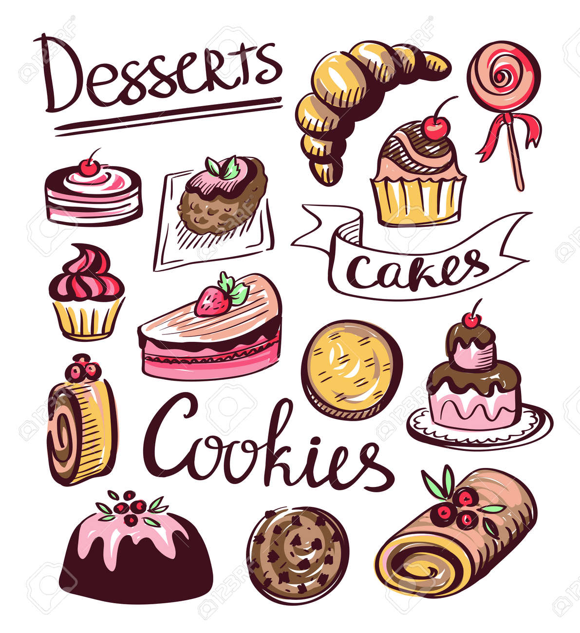 baked sweet food icons. cake, cookie, donut. vector labels, royalty