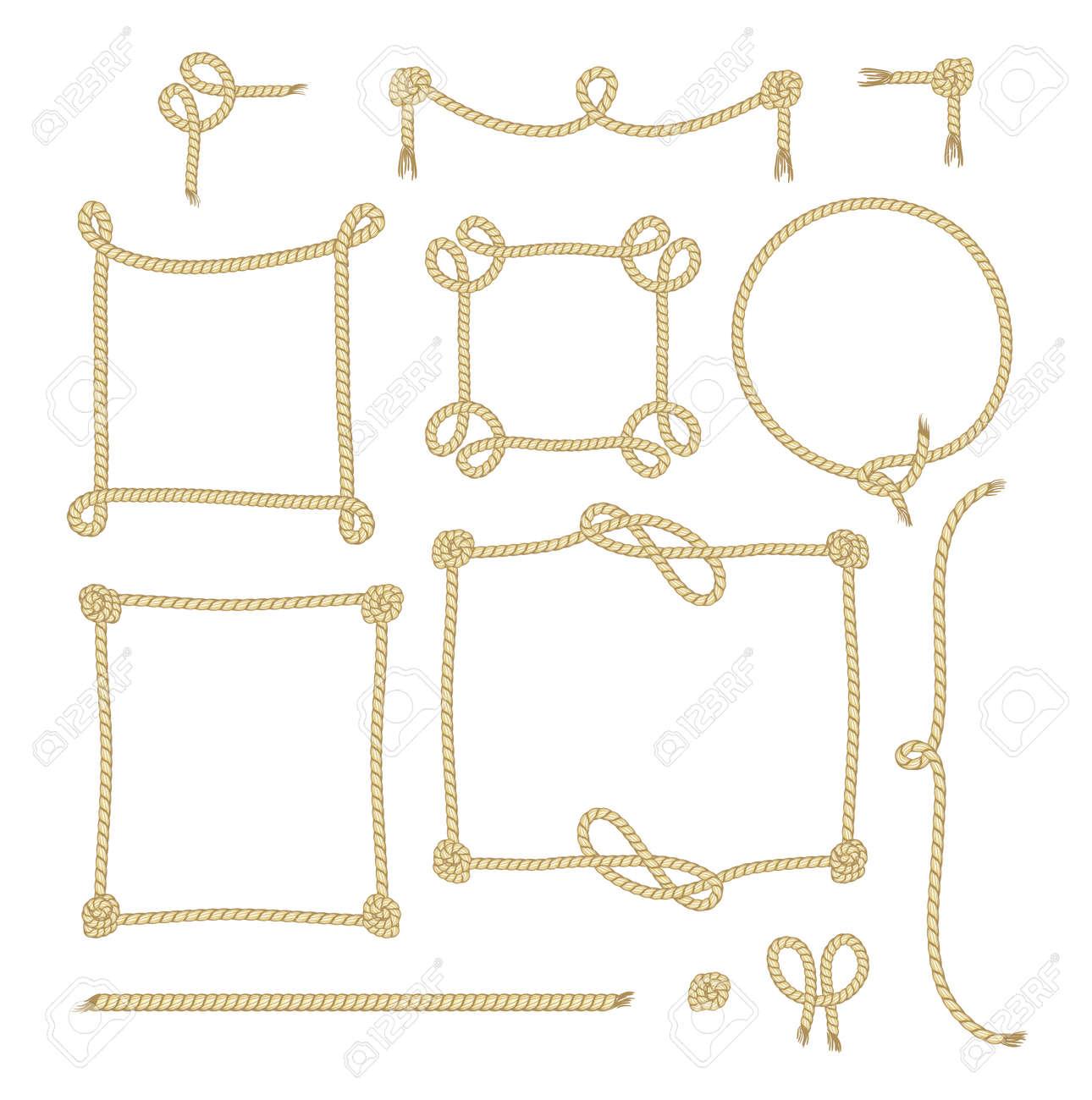Conjunto De Cuerda Simple Marcos Diseños Gráficos Sobre Fondo Blanco ...