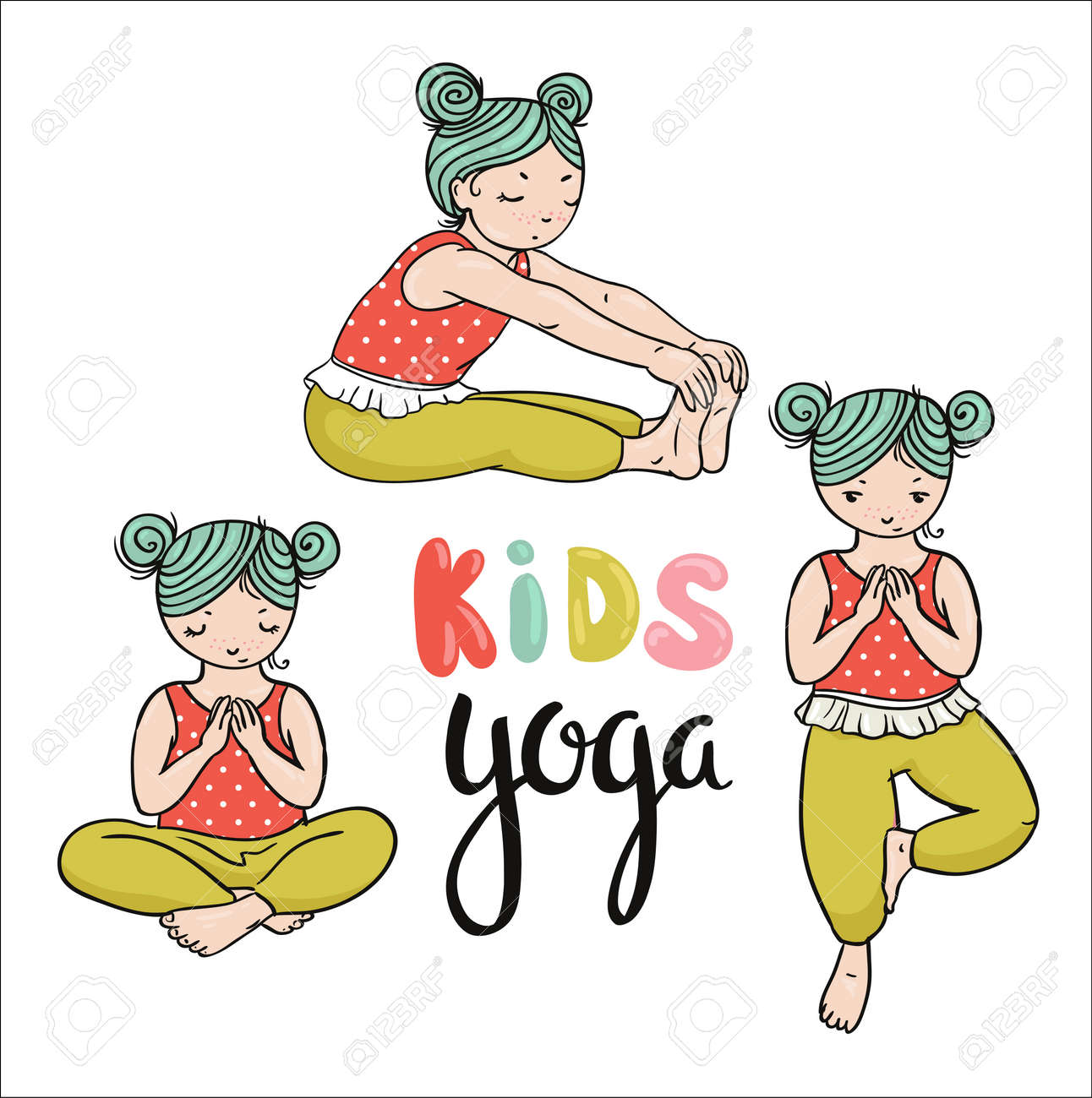 Kid Yoga Logo Gymnastics For Children Healthy Lifestyle Poster Royalty Free Cliparts Vectors And Stock Illustration Image 78926715