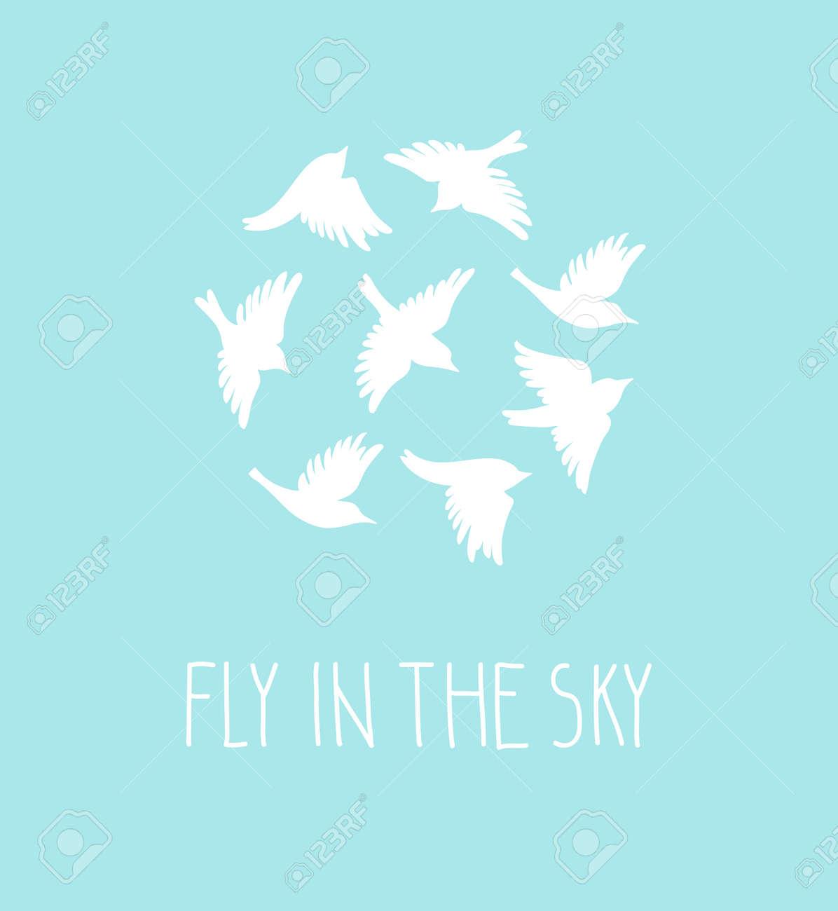 Conjunto De Silueta De Aves De Vectores Postal Azul Con Pájaros Y Frase Elegante Volar En El Cielo
