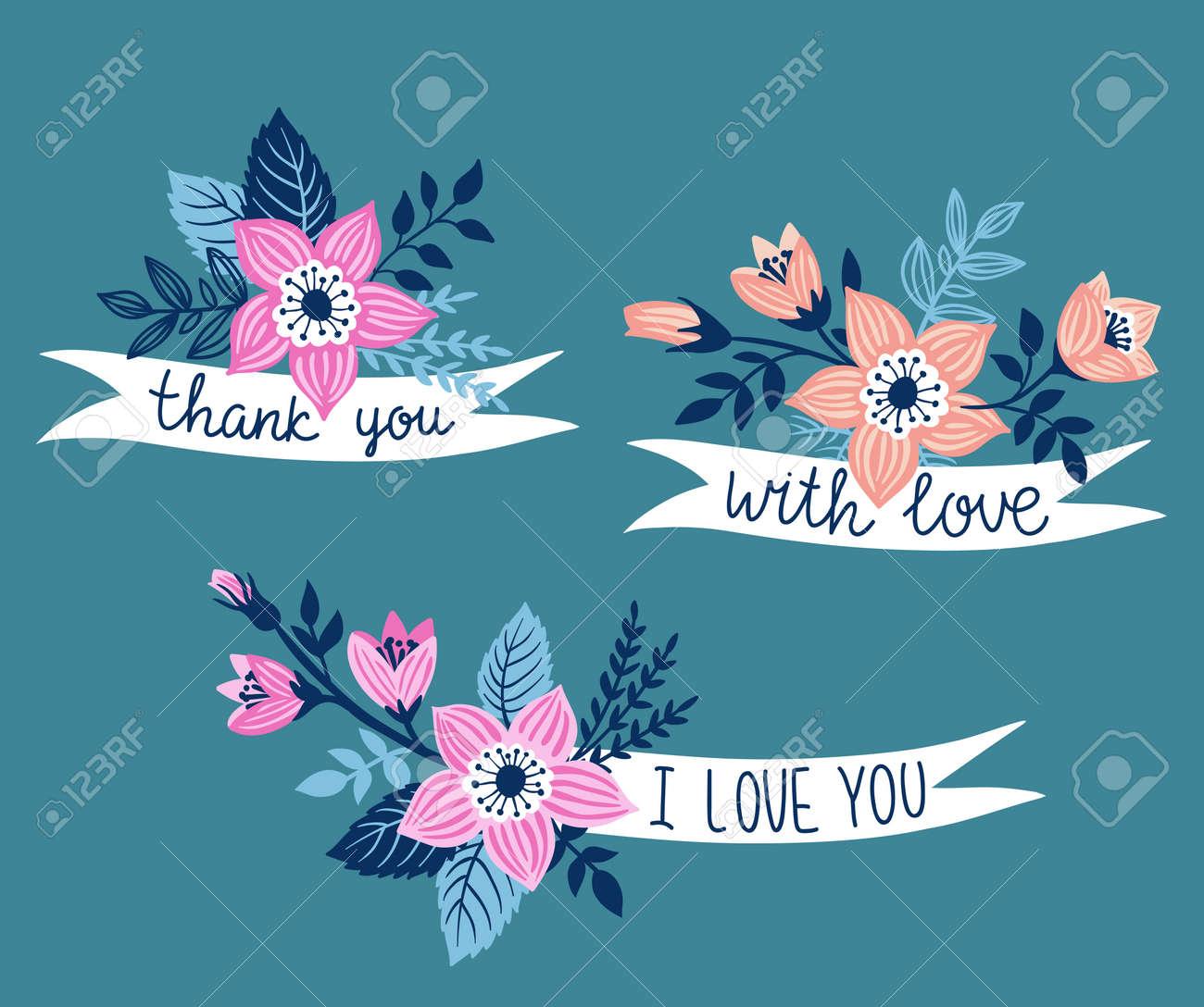 Vector Mão Desenhada Com Flores E Frase Elegante Obrigado Com Amor Eu Amo Você Elemento De Design Floral Isolado No Fundo Azul