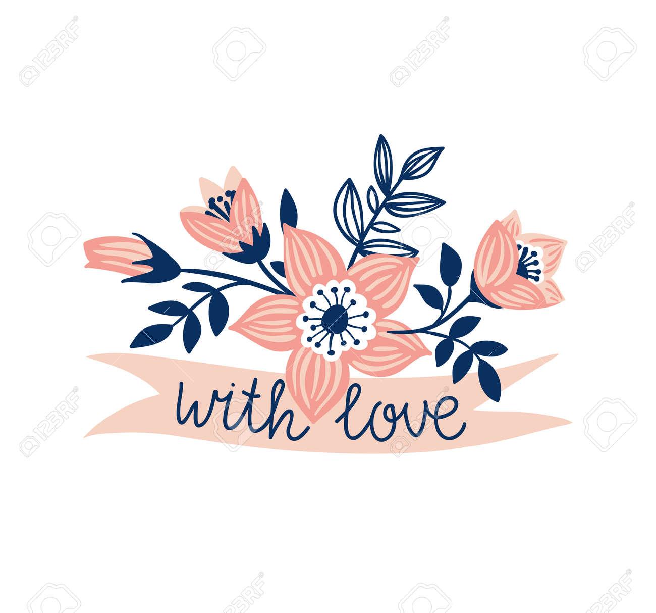 Fita Tirada Mão Do Vetor Com Flores E Frase à Moda Com Amor Elemento De Design Floral Isolado No Fundo Branco