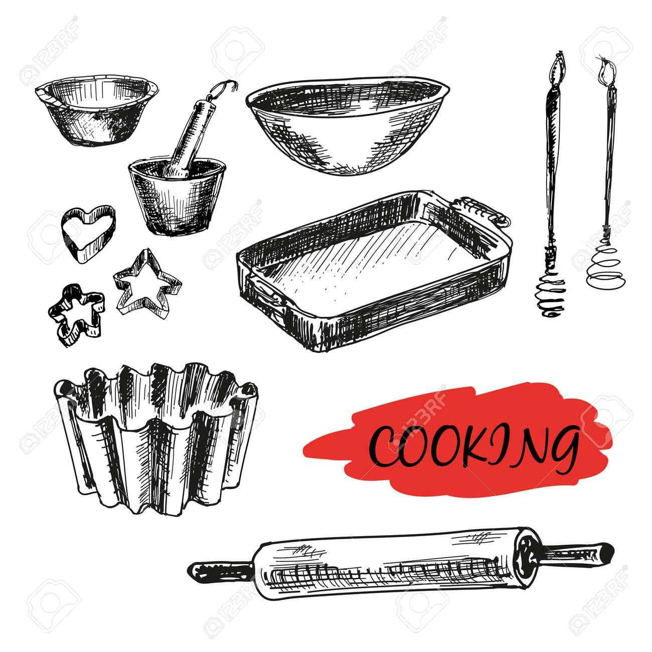 archivio fotografico set di utensili da cucina tutti cottura illustrazioni disegnate a mano