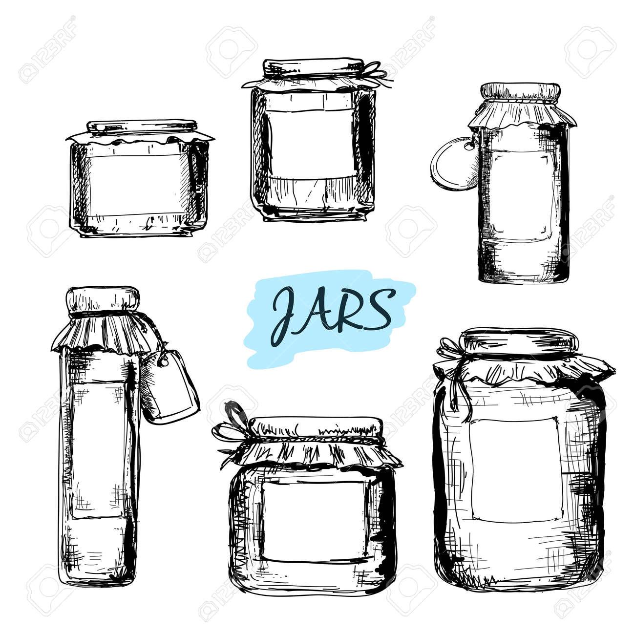 Jars Drawing Drawn Illustrations Jar