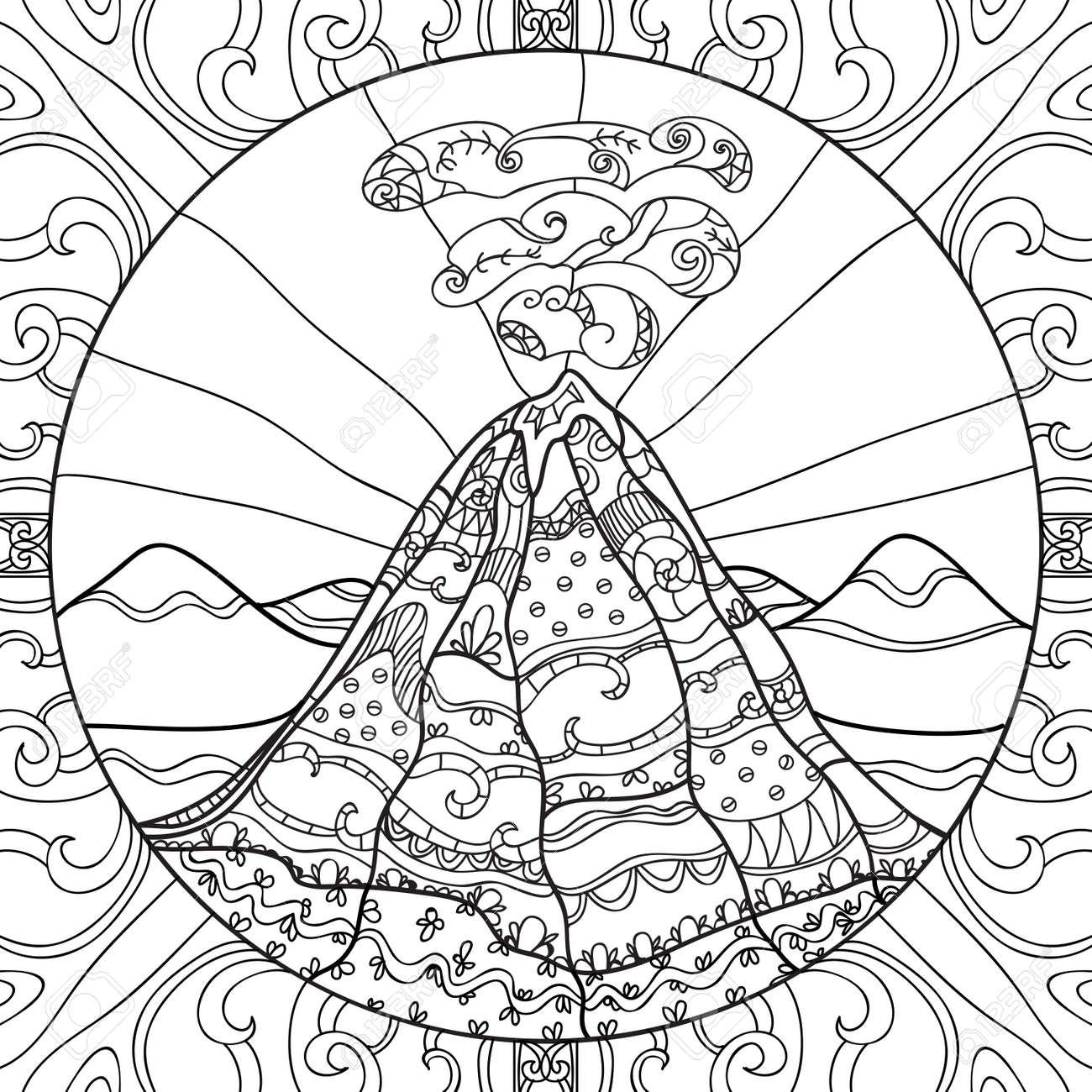 Dibujo Para Colorear Con El Volcán Y El Patrón Abstracto Dibujado A Mano Ilustración Gráfica