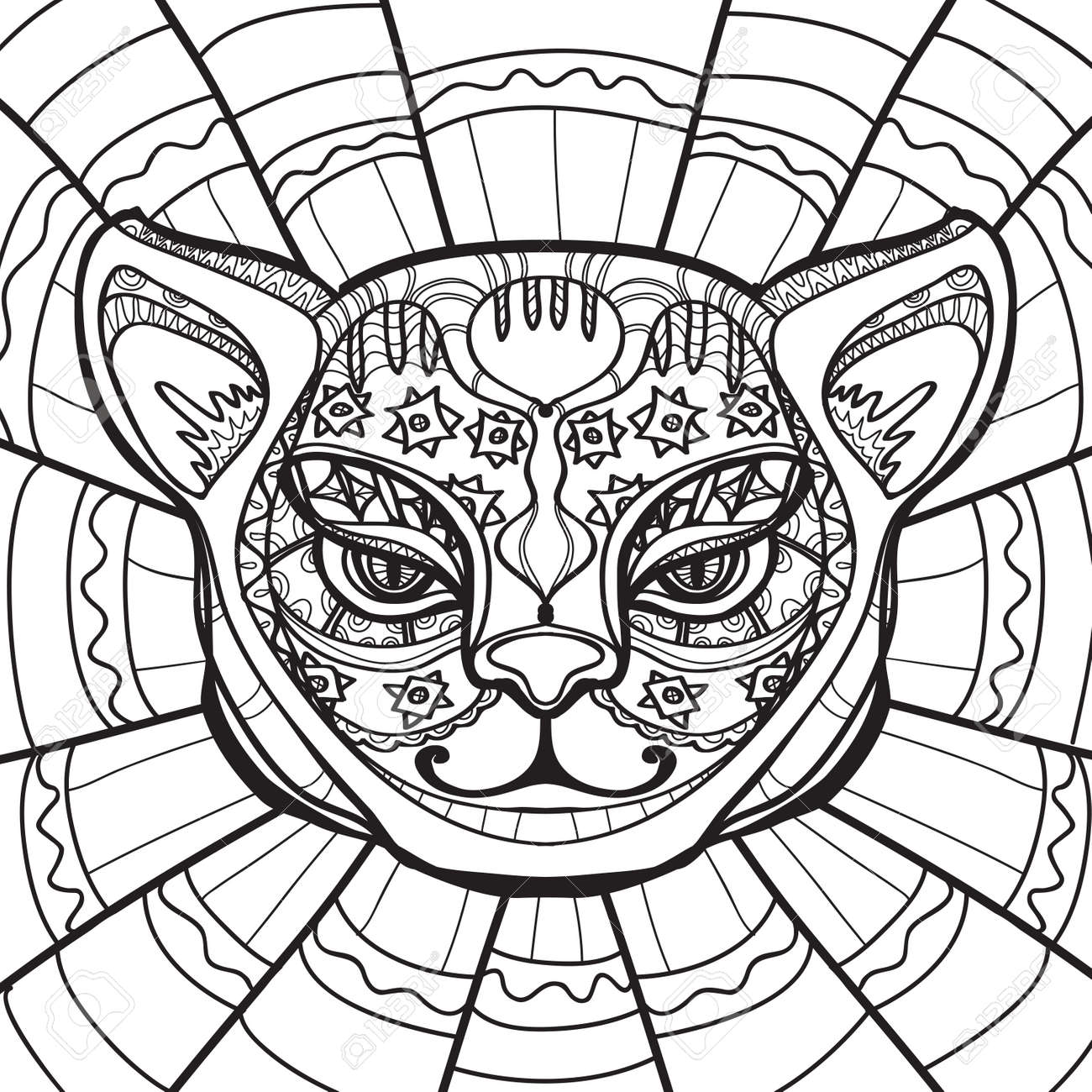 Coloring Page With Cat Head Royalty Free Cliparts Vectors And