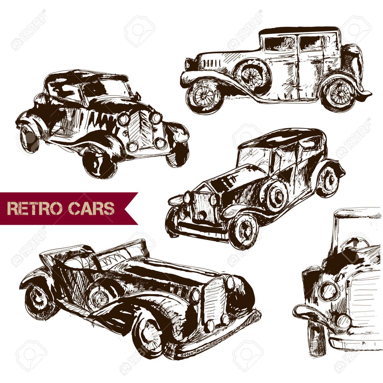 Retro Auto Skizze Für Ihr Design. Vektor-Illustration. Sammlung Von ...