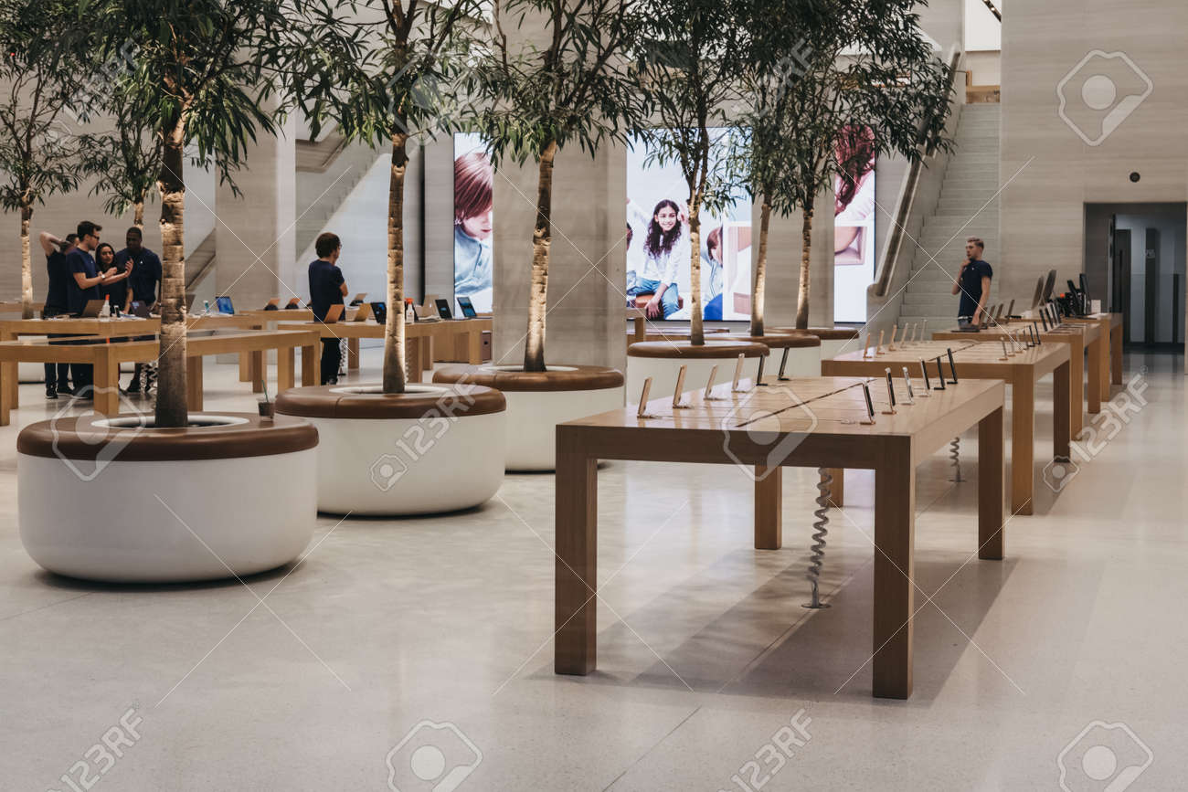 Inside the Apple Store on Regent Street, London that recently