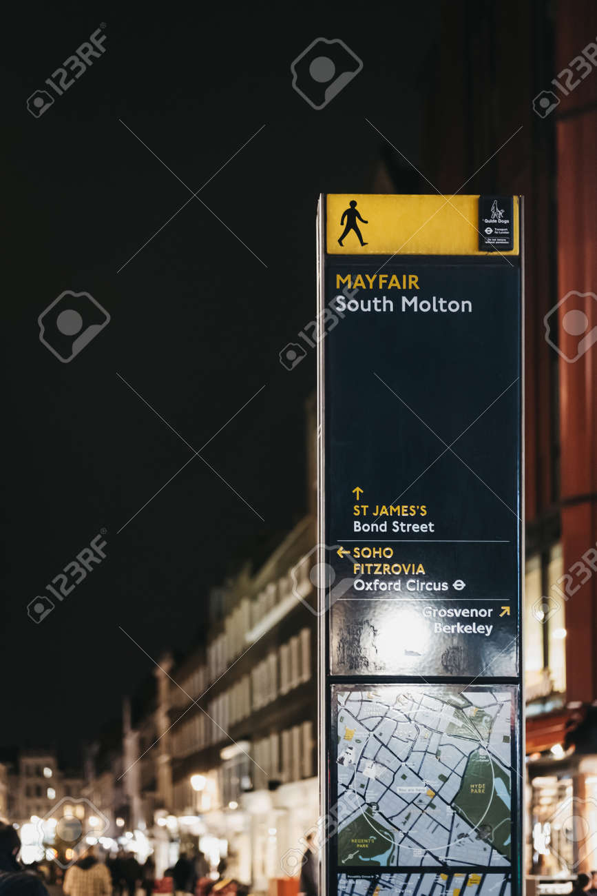 Street Map London West End.London Uk March 9 2019 Directions And Map Board On Molton
