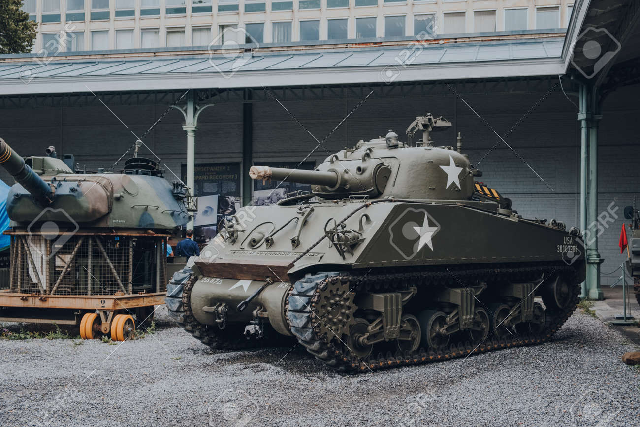 Brussels, Belgium - August 17, 2019: American Sherman Tank on exhibit at The Royal Museum of the Armed Forces and Military History, famous military museum in Brussels. - 169629860