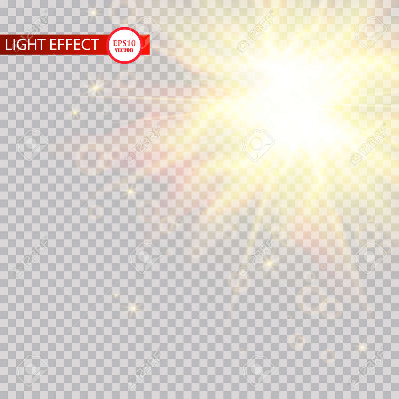 Lens Flare Light Effect Sun Rays With Beams Isolated On Transparent Background Vector Illustration