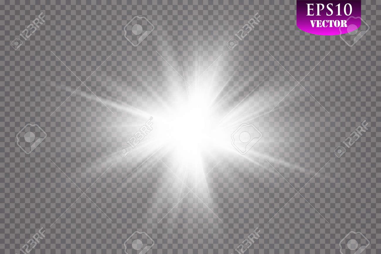 Glow light effect. Starburst with sparkles on transparent background. Vector illustration. Sun.Eps 10. - 114877153