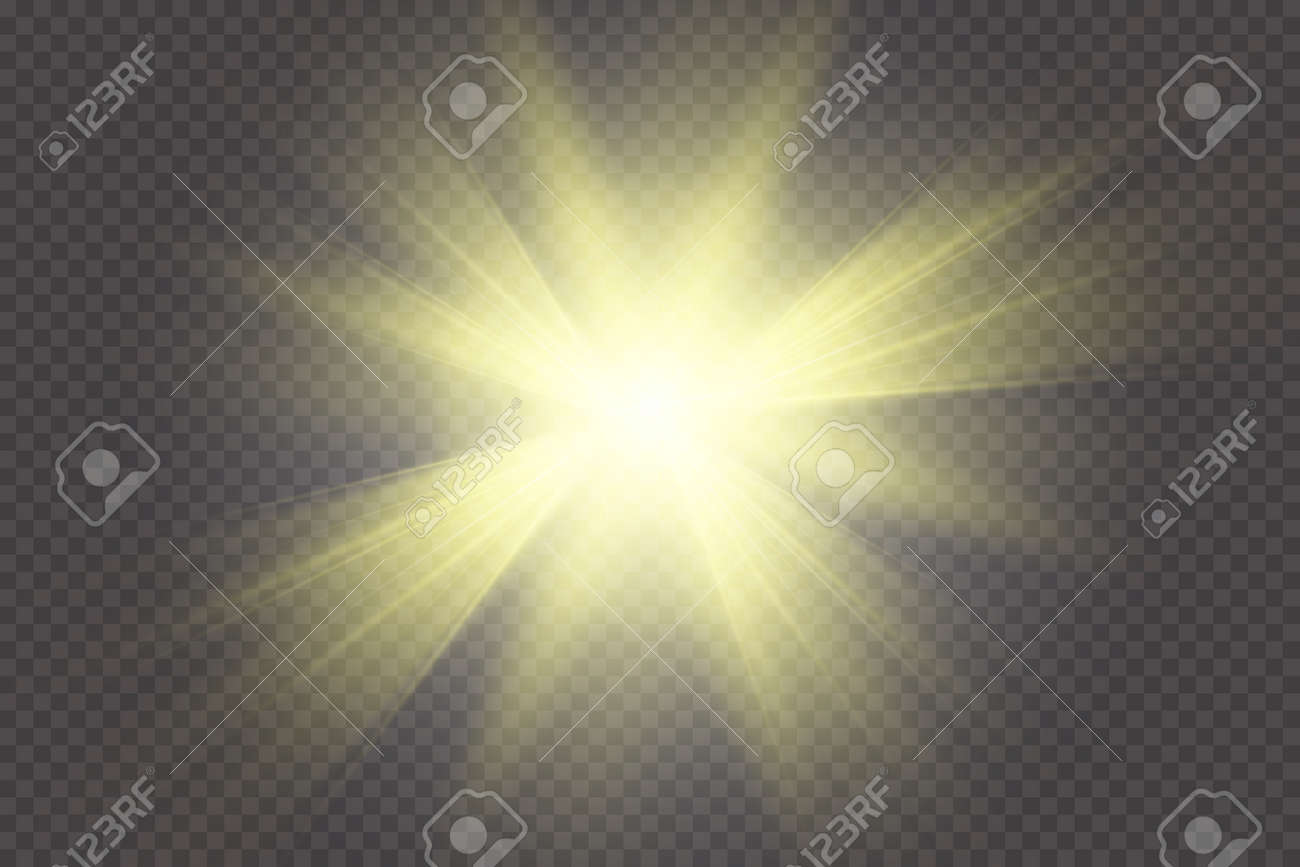 Glow light effect  Starburst with sparkles on transparent background
