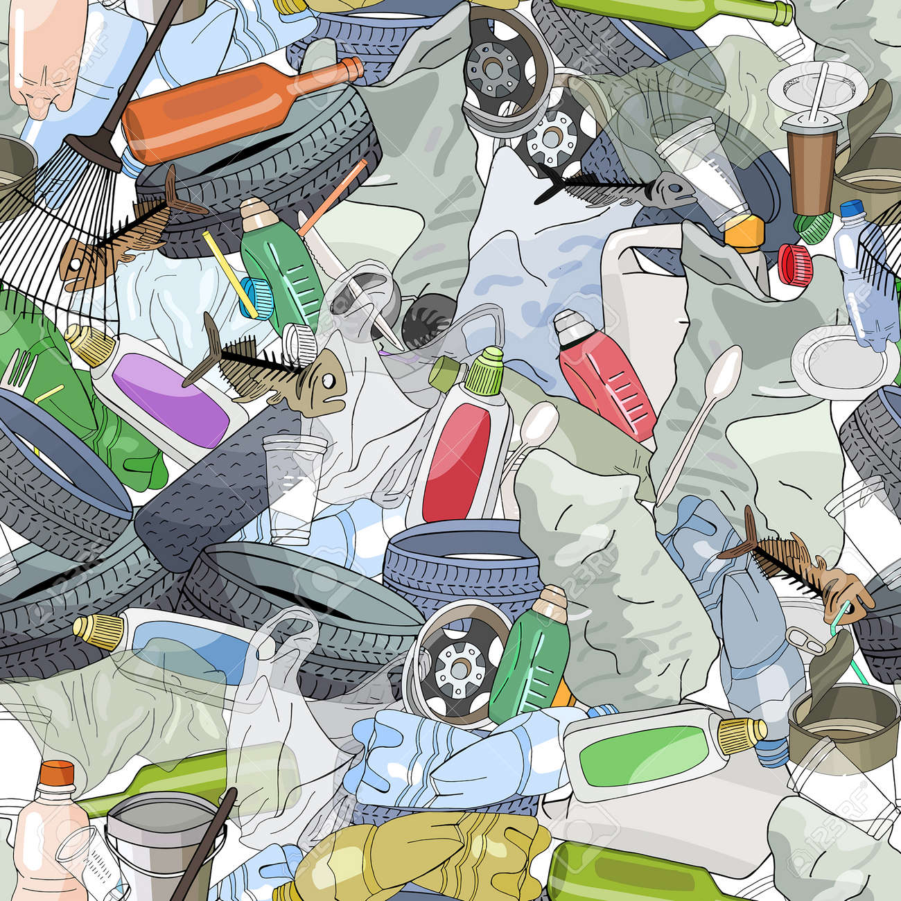 Seamless pattern with different kinds of plastic garbage. The concept of ecology and World Cleanup Day. - 160860740