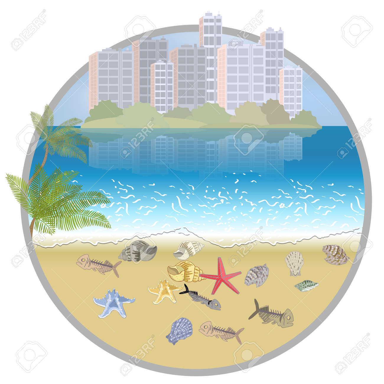 Environmental disaster of plastic debris in the city. Garbage on the coast in the ocean and in the sea. - 160860745