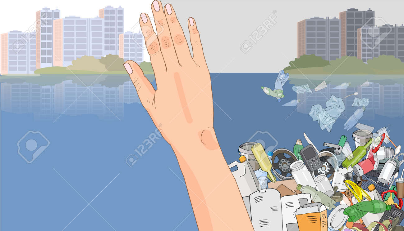 Environmental disaster of plastic debris in the ocean. Pile garbage in the sea. Waste and trash in the city. Plastic straws on the coast. Concept of ecology and World Cleanup Day. - 160860746