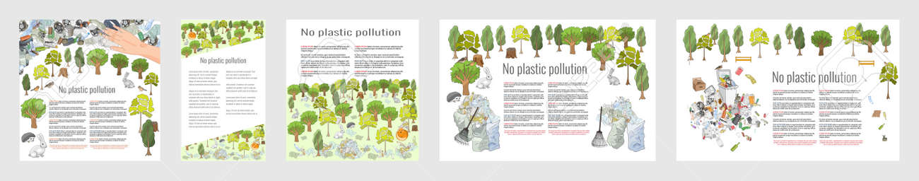 Pollution of the environment. Garbage and waste in forests, in wildlife. Different types of garbage. Vector hand draw collection. Concept of Recycles Day, World Cleanup Day and ecology - 160860749