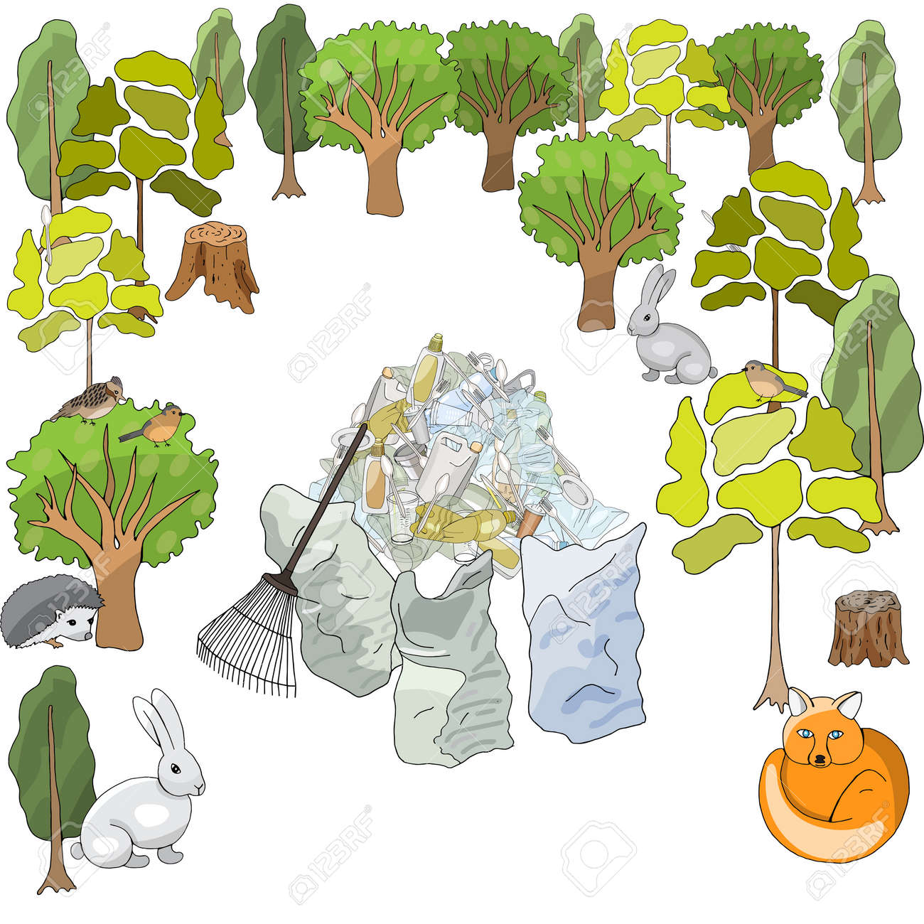 Pollution of the environment. Garbage and waste in forests, in wildlife. Different types of garbage. Vector hand draw collection. Concept of Recycles Day, World Cleanup Day and ecology - 160860751