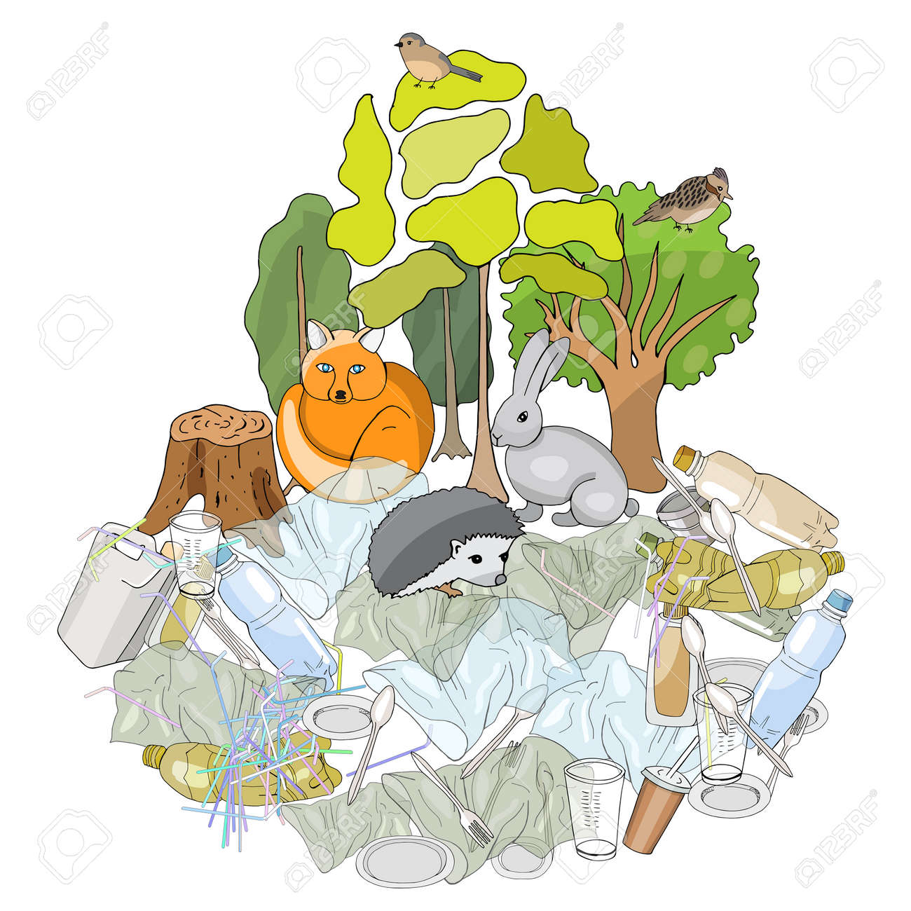 Pollution of the environment. Full trash can. Garbage and waste in forests, in wildlife. Different types of garbage. Vector hand draw collection. Concept of Recycles Day, World Cleanup Day and ecology - 160860756