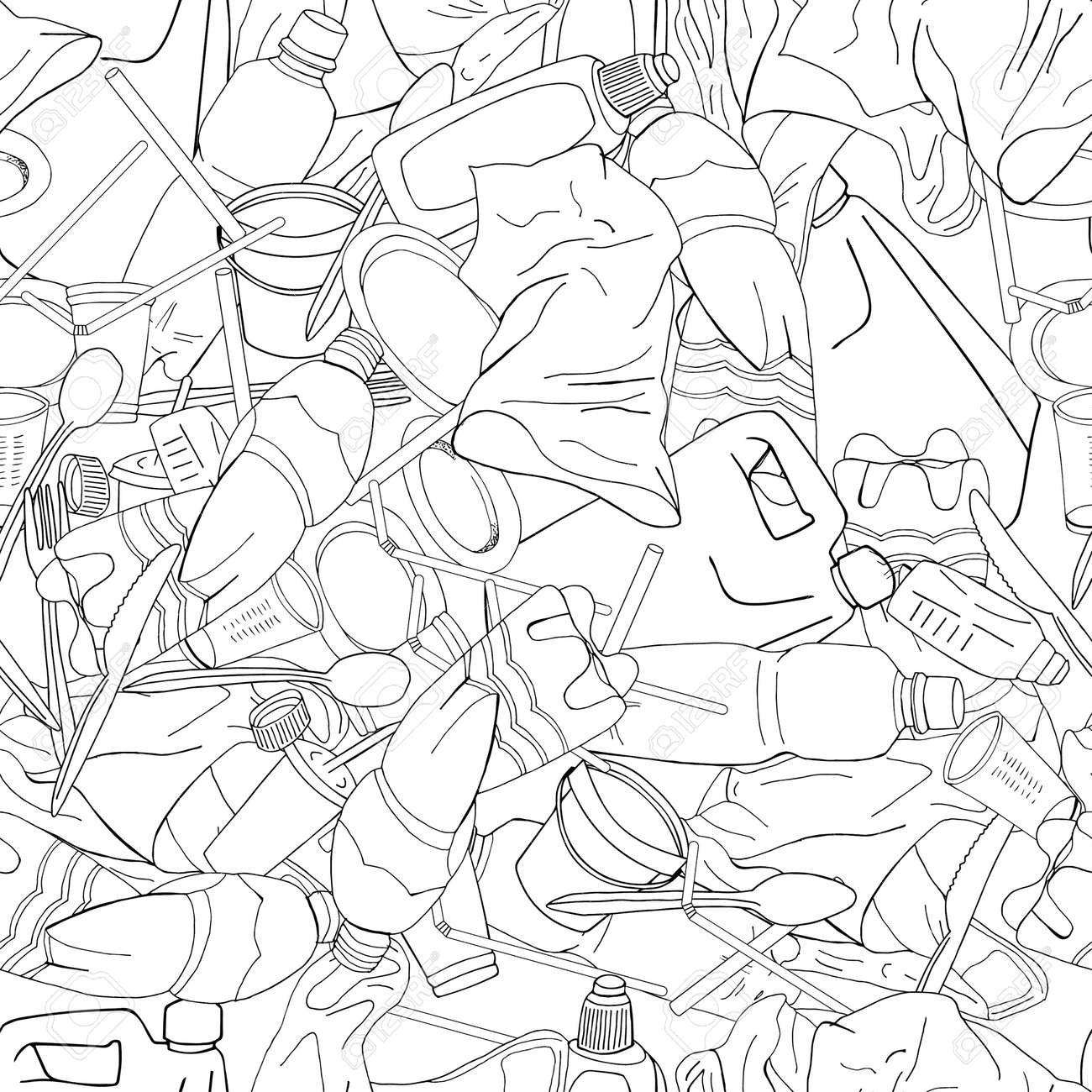 Outline seamless pattern with sorted plastic garbage isolated on white background. Separate debris collection. Vector hand drawn set of trash. Concept of Recycles Day, World Cleanup Day and ecology. - 160622744