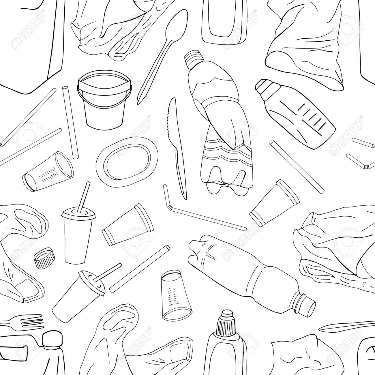 Outline seamless pattern with sorted plastic garbage isolated on white background. Separate debris collection. Vector hand drawn set of trash. Concept of Recycles Day, World Cleanup Day and ecology. - 160622743