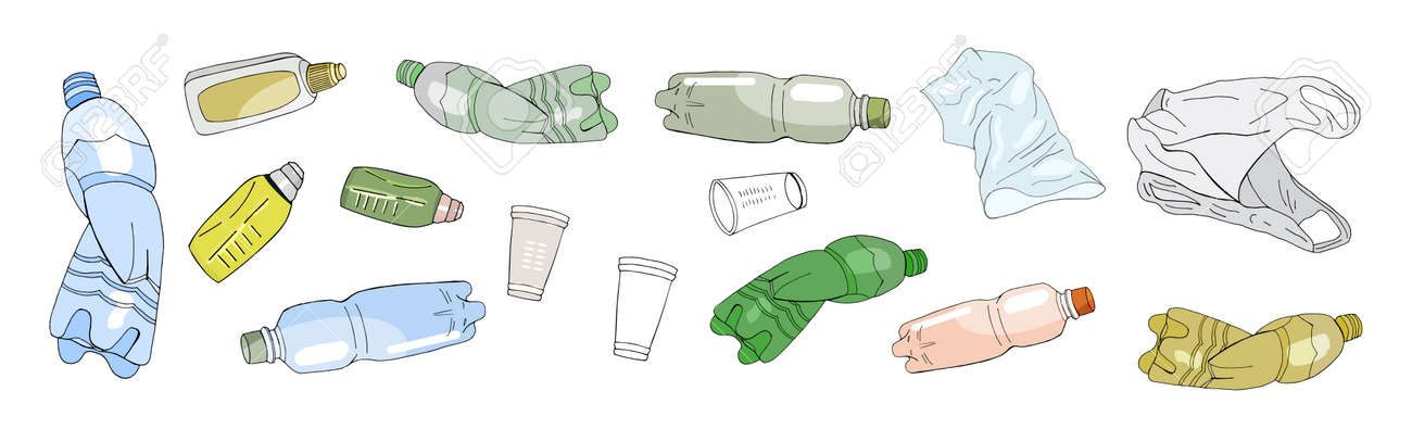 Set of sorted plastic garbage isolated on white. Vector pattern. Hand draw collection of trash. Concept of Recycles Day, World Cleanup Day and ecology. - 160622746