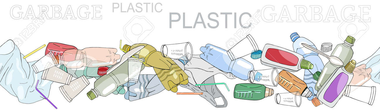 Seamless border with sorted plastic garbage isolated on white. Collection of patterns with separate debris. Hand draw collection of trash. Concept of Recycles Day, World Cleanup Day and ecology. - 160622749