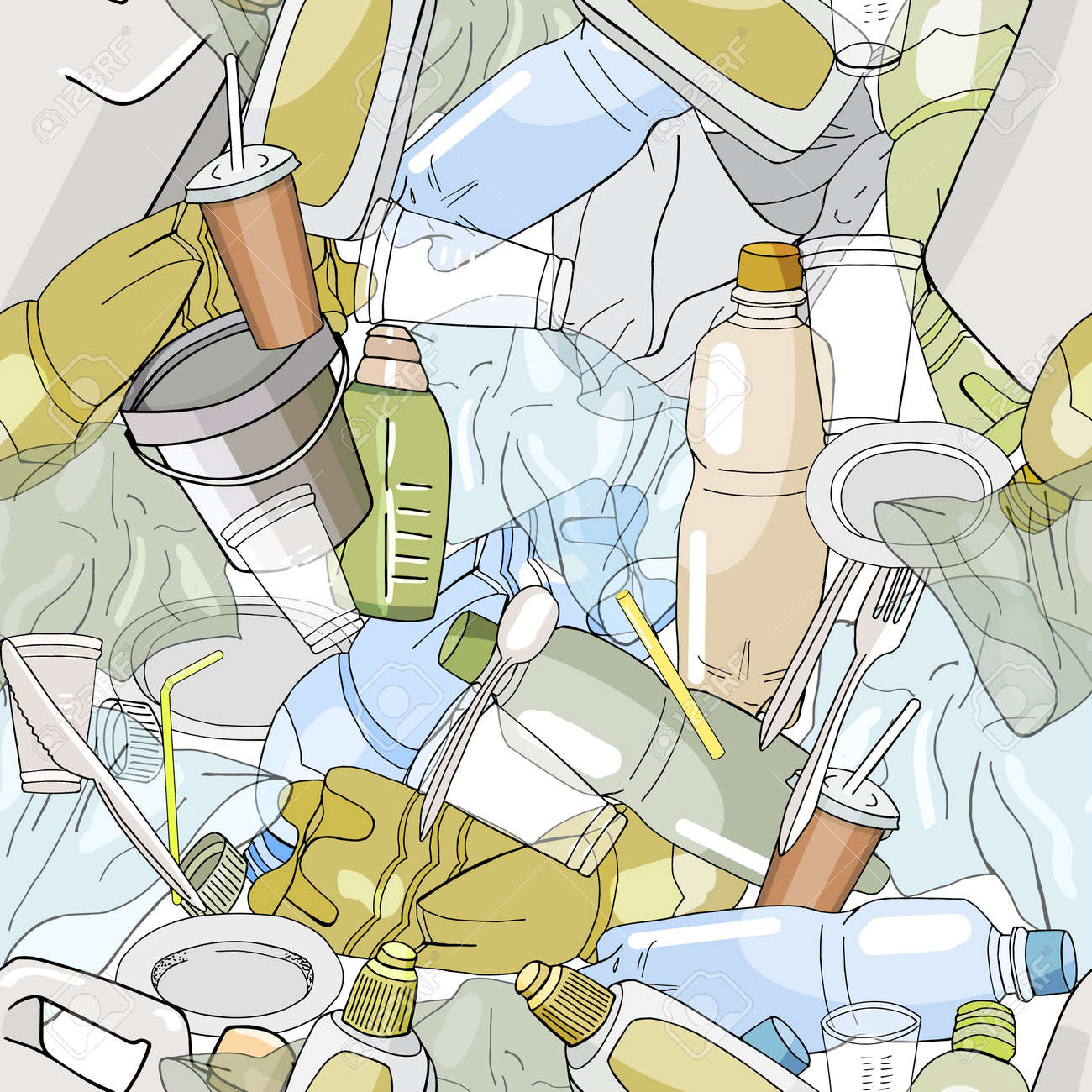 Seamless pattern with different kinds of plastic garbage. The concept of ecology and World Cleanup Day. - 160622811