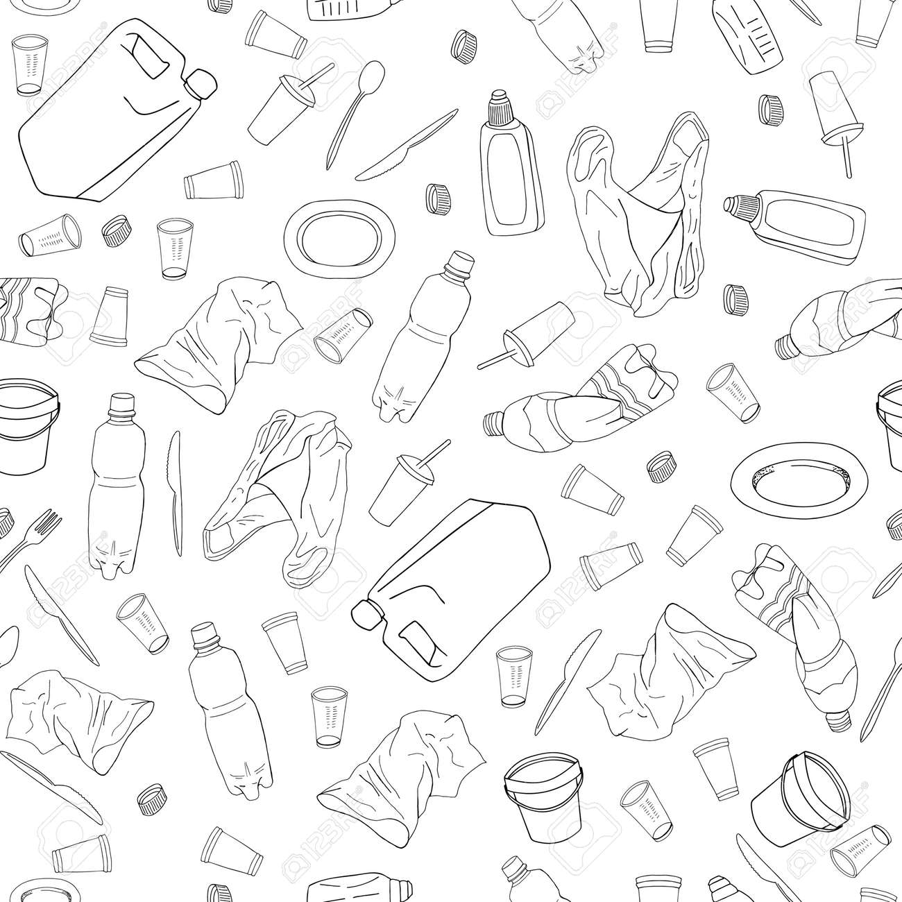 Outline seamless pattern with sorted plastic garbage isolated on white background. Separate debris collection. Vector hand drawn set of trash. Concept of Recycles Day, World Cleanup Day and ecology. - 160622819