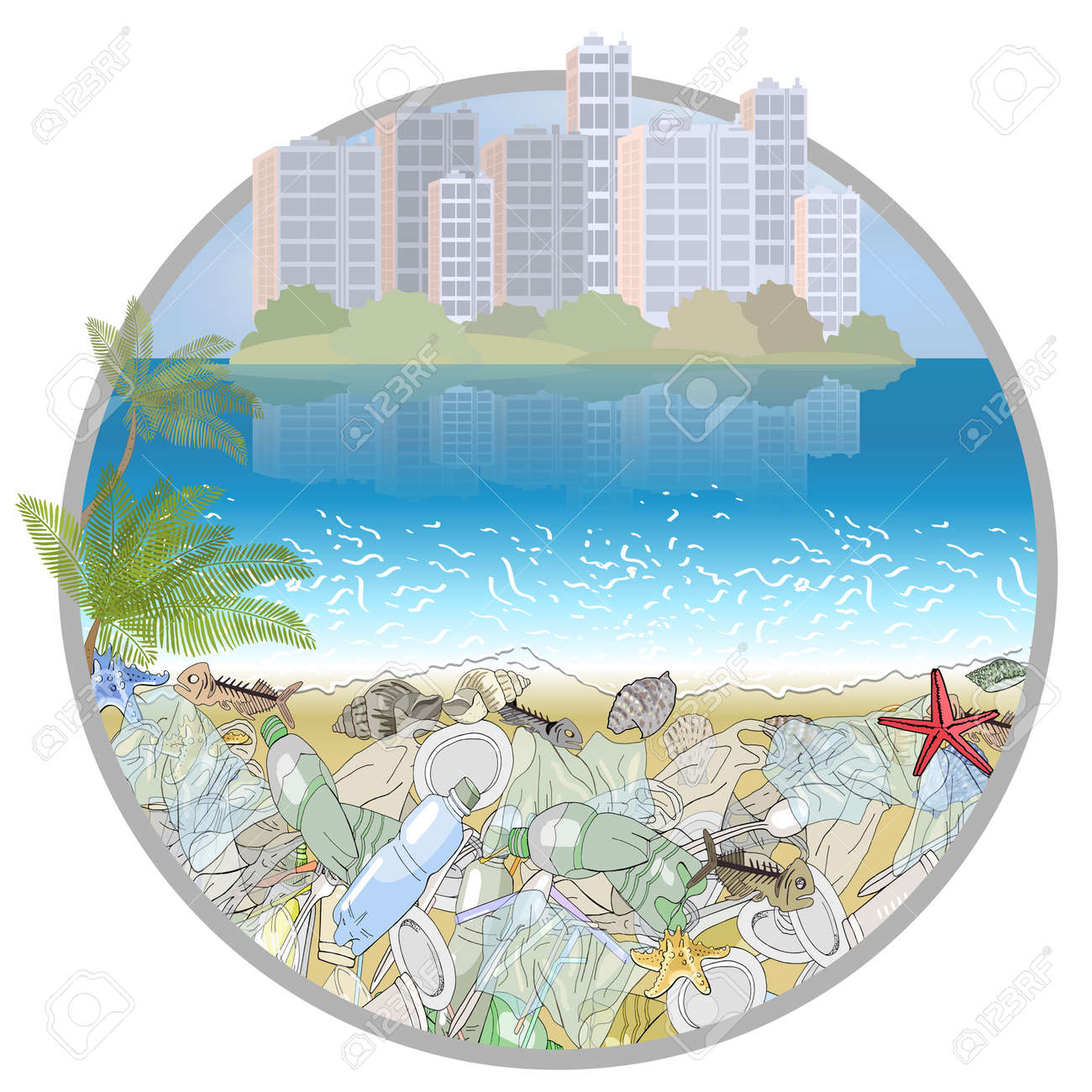Seamless border with garbage on the ocean shore. The concept of ecological catastrophe. - 160622825
