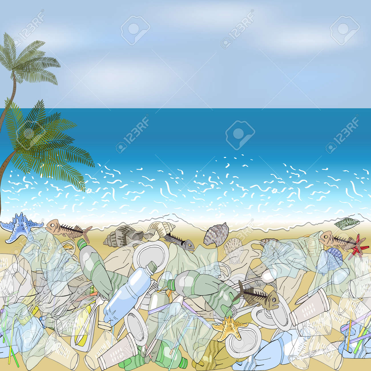Environmental disaster of plastic debris in the ocean. Garbage on the coast against the sky as a backdrop. The concept of ecology and the World Cleanup Day. - 160622826