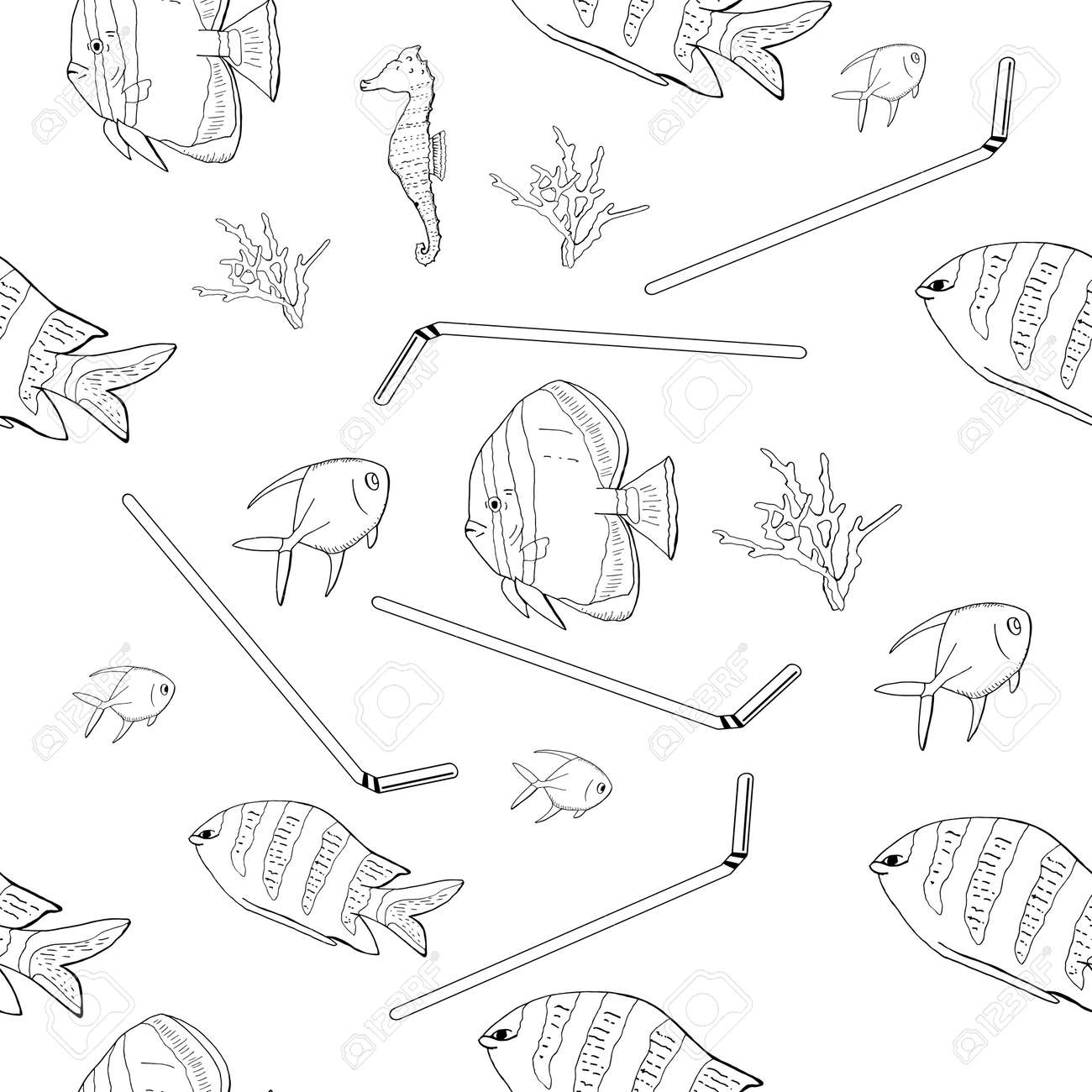 Hand drawn outline. Vector seamless pattern with garbage, plastic straws, fishes, bag, seaweed, plastic utensils. The concept of environmental pollution. - 160622855