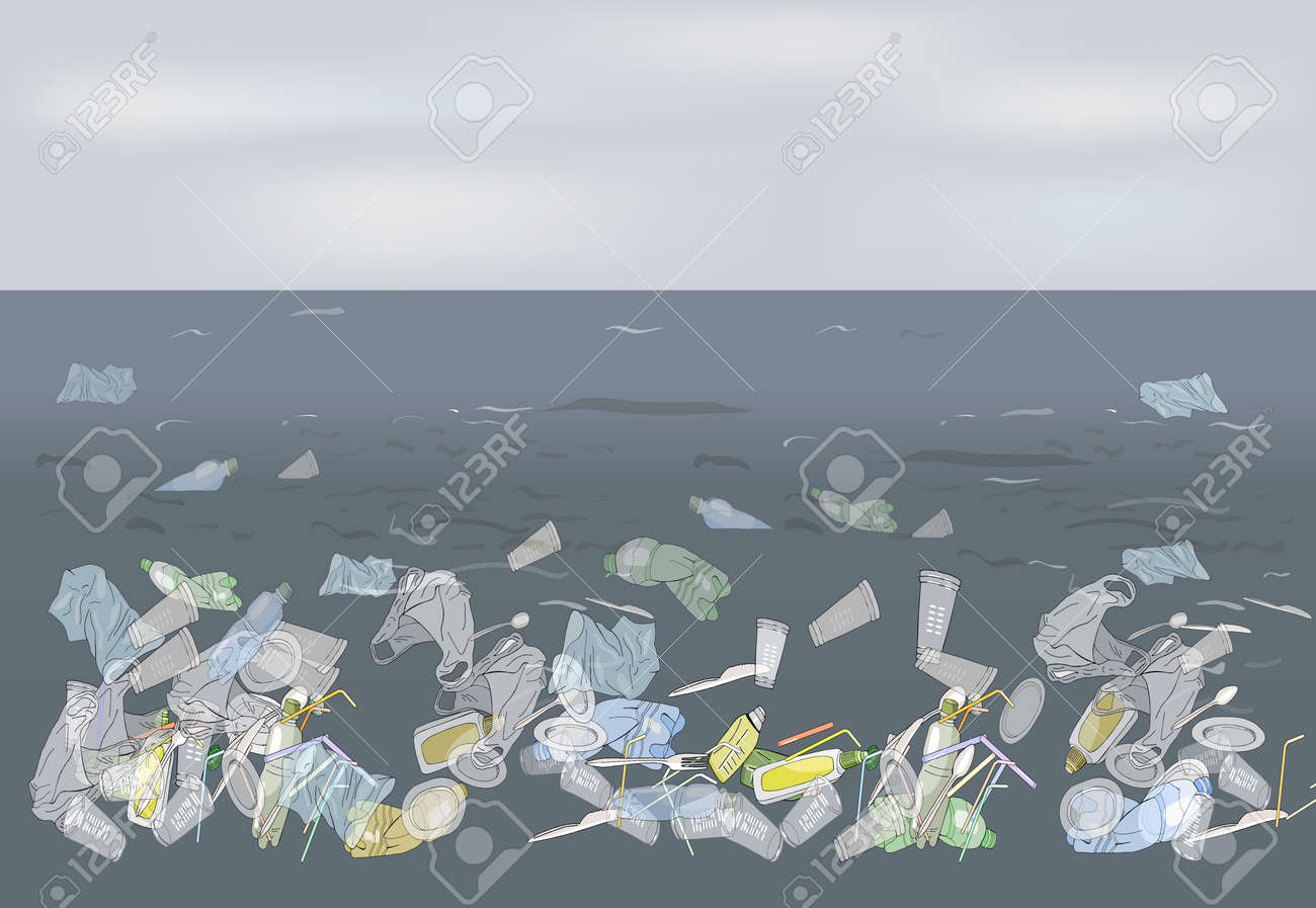 Environmental disaster of plastic straws, pollution, waste in the ocean. Garbage in the sea against the sky as a backdrop. The concept of ecology and the World Cleanup Day. - 160622854