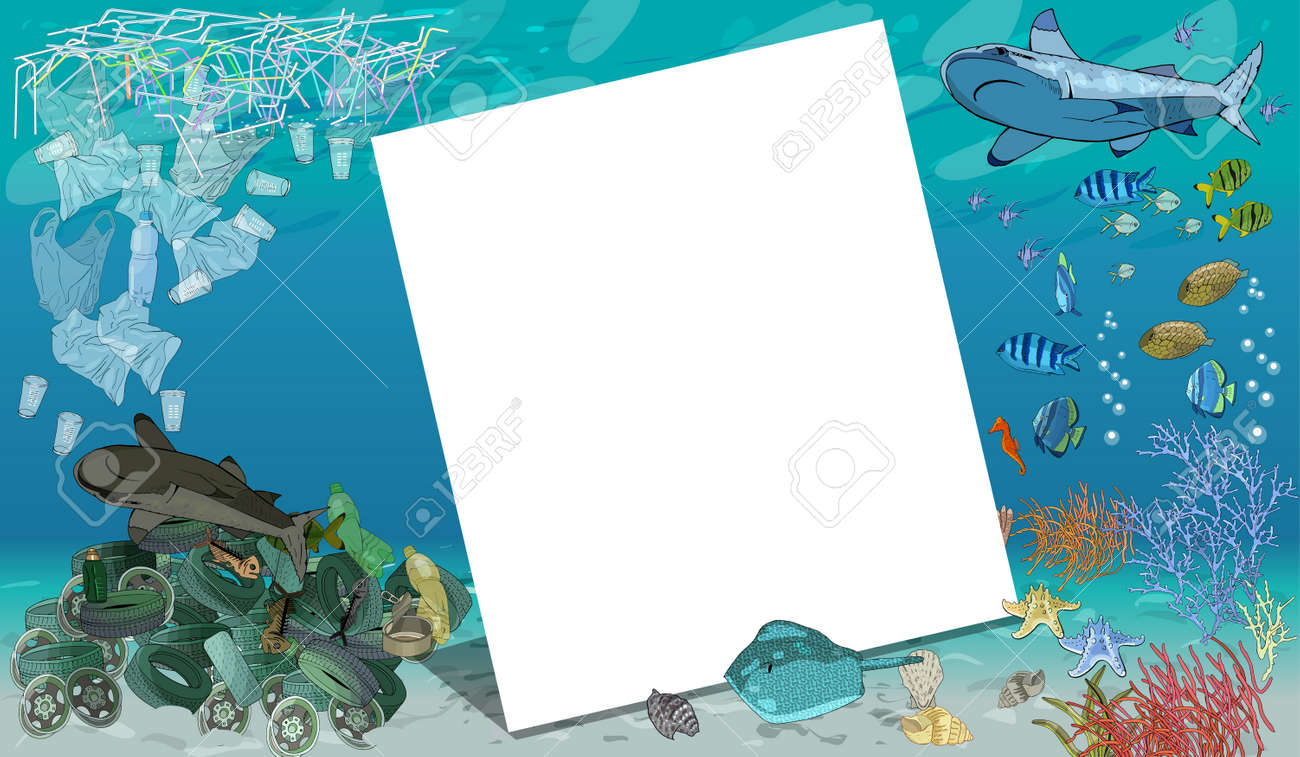 Vector template with different types of plastic garbage and chemical waste to the ocean. Ecology concept. - 160623206